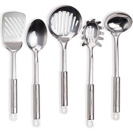 Stainless Steel Cooking Utensils, Kitchen Utensil Set of Main Serving Spoons