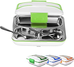 ZEERKEER Electric Lunch Box(110V) Portable Food Warmer with Removable Stainless Steel Compartments, Food Heater for School, Office, Picnic, Includes Spoon and Fork (Green)