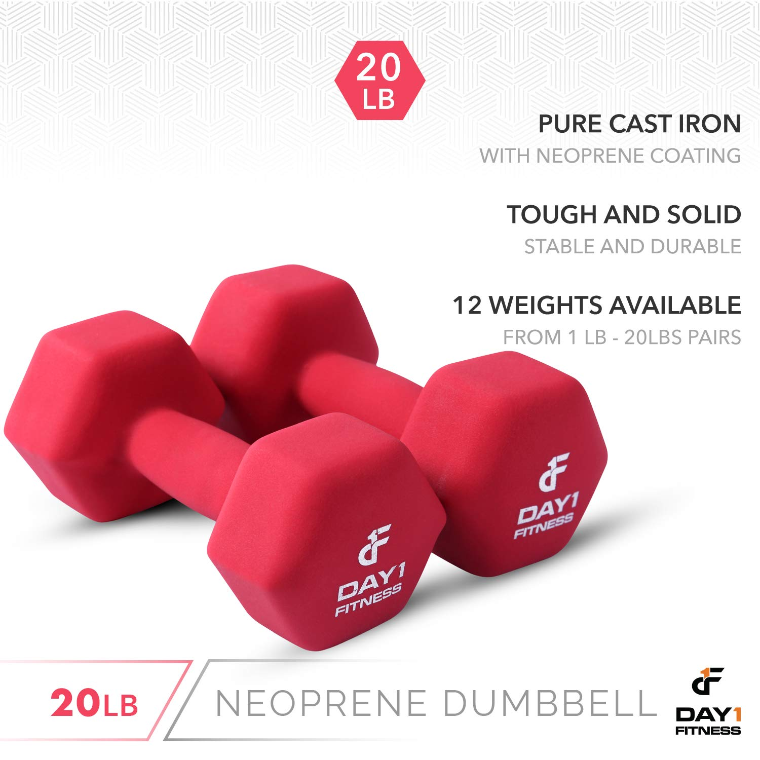 Hexagon Shape Color Coded Non-Slip 12 Sizes of Pairs Available Weight Loss Easy To Read Hand Weights for Muscle Toning Strength Building Neoprene Dumbbell Pairs by Day 1 Fitness 1-20 Pounds