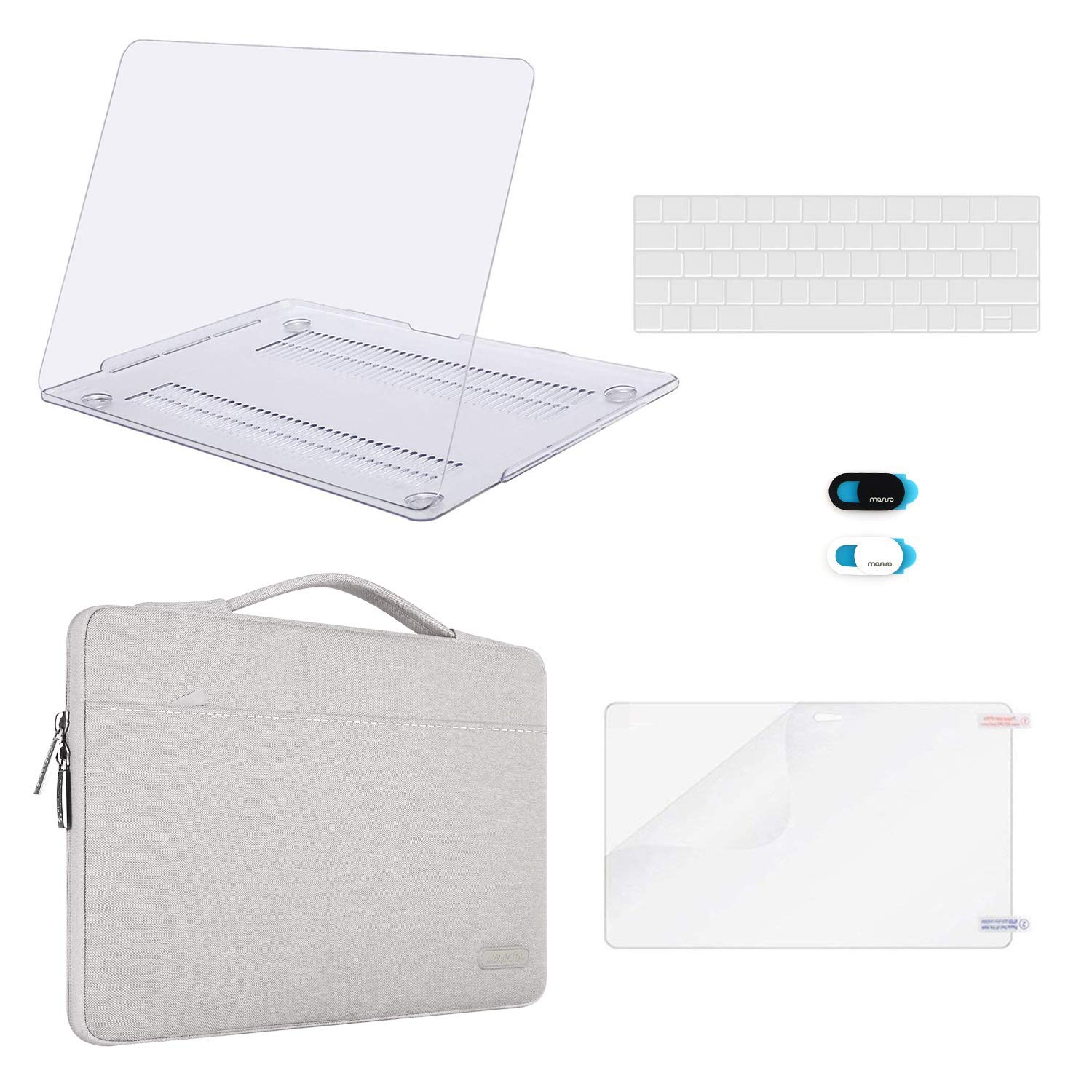 MOSISO MacBook Pro 13 inch Case 2016-2019 A2159 A1989 A1706 A1708 Plastic Hard Case /& Sleeve Bag /& Keyboard Cover /& Webcam Cover /& Screen Protector Compatible with MacBook Pro 13 Clear/&Gray