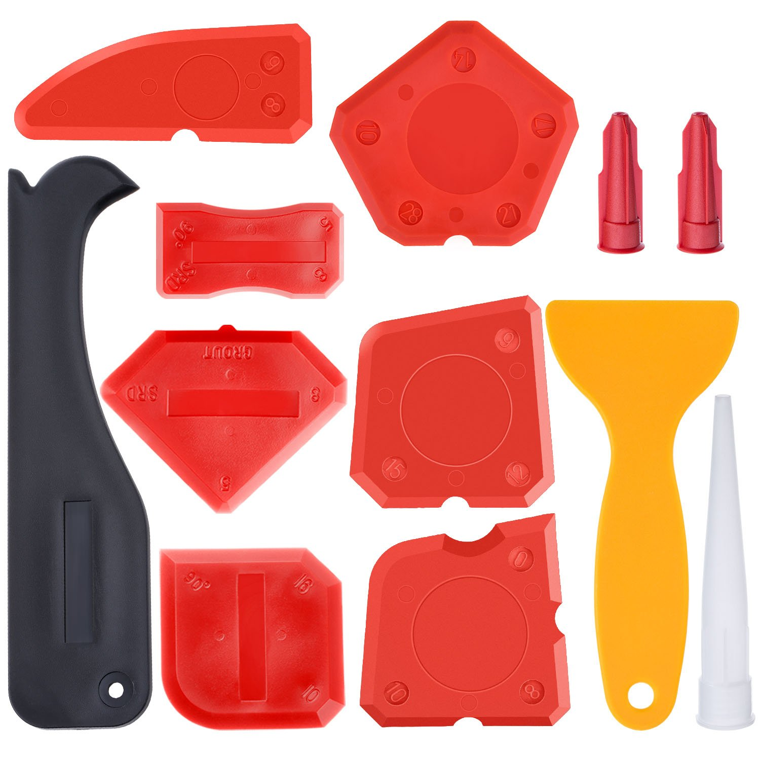 Hestya 12 Pieces Caulking Tool Kit Silicone Sealant Finishing Tool Grout Scraper Caulk Remover and Caulk Nozzle and Caulk Caps (Red)