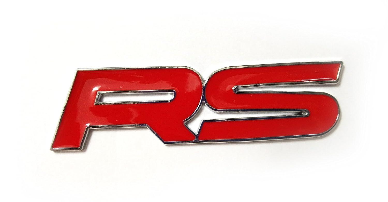 Red Metal Rs Stylish Sport Sticker Decal Emblem For Car Bike Logo
