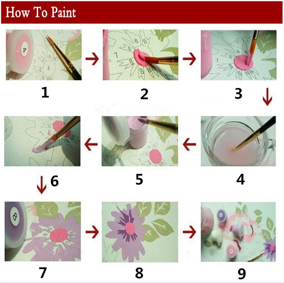 Moent Home Decor Diy Oil Painting Paint By Number Kit 16 20 Inch Home Wall Art Picture Painting Paint Room Decor