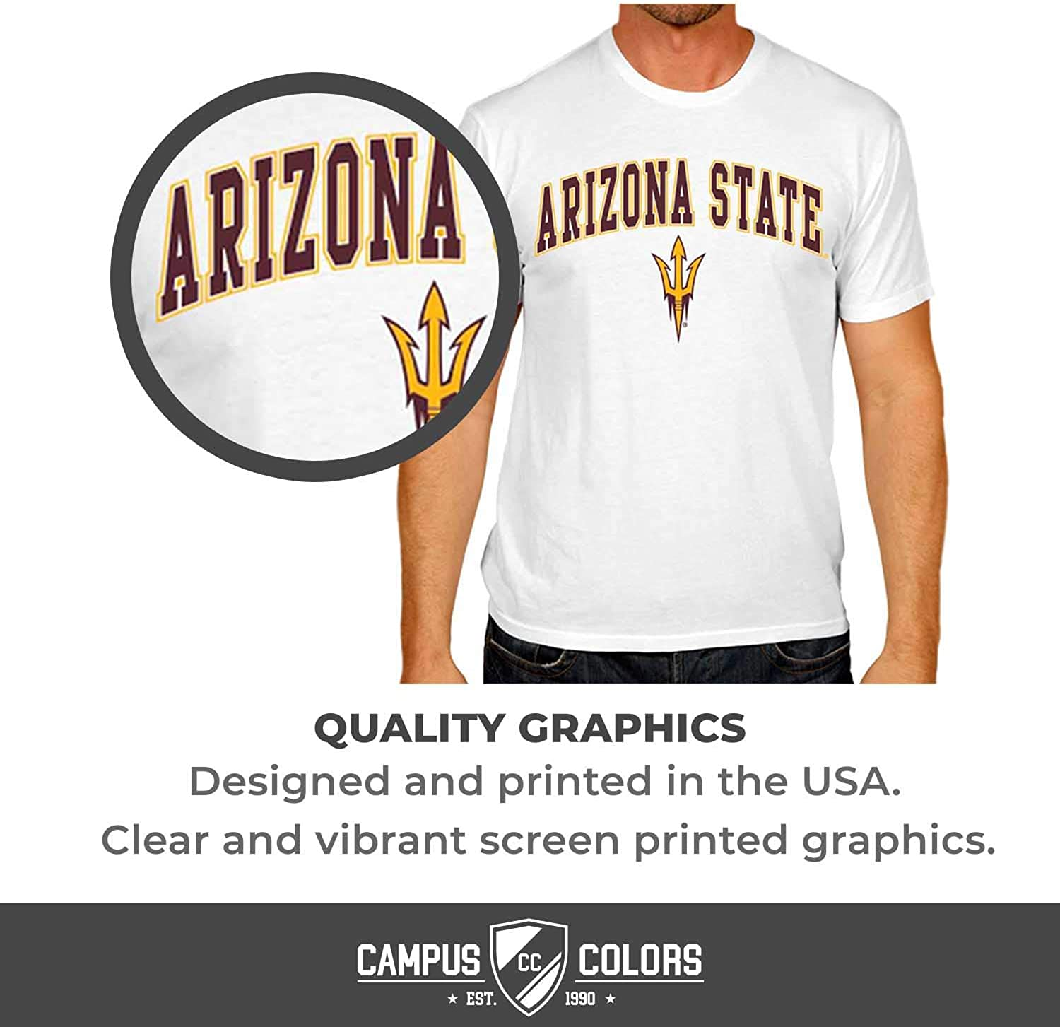 Campus Colors NCAA Adult Arch /& Logo Soft Style Gameday T-Shirt
