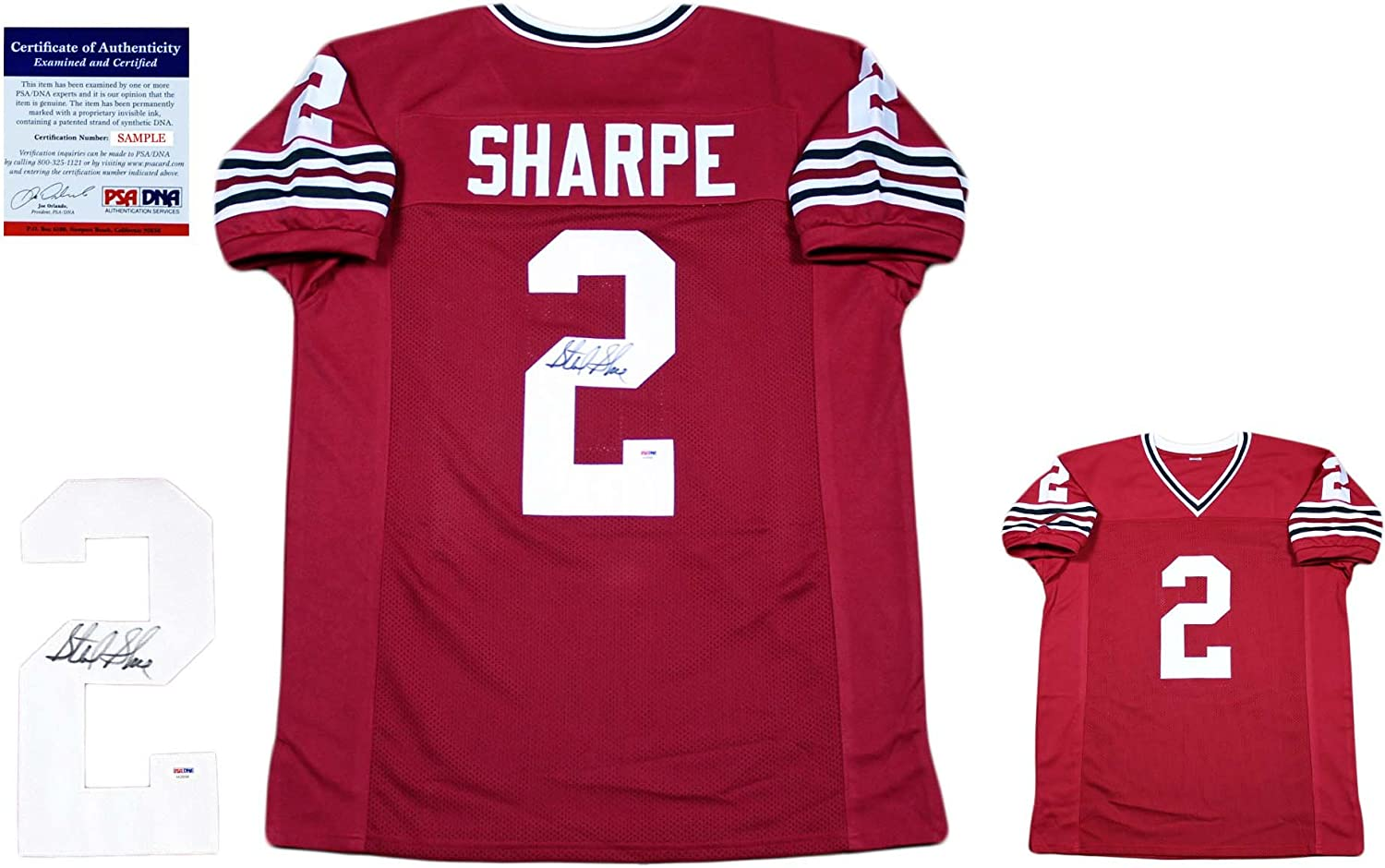 Sterling Sharpe Autographed Signed Custom Jersey - Beckett - Red ...