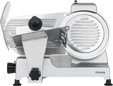 H.Koenig Cortafiambres Profesional Pequeño, Cuchilla Italiana, 22 cm, 282 RPM, Ajuste de Grosor del Corte, 240 W, Aluminio, Gris MSX220