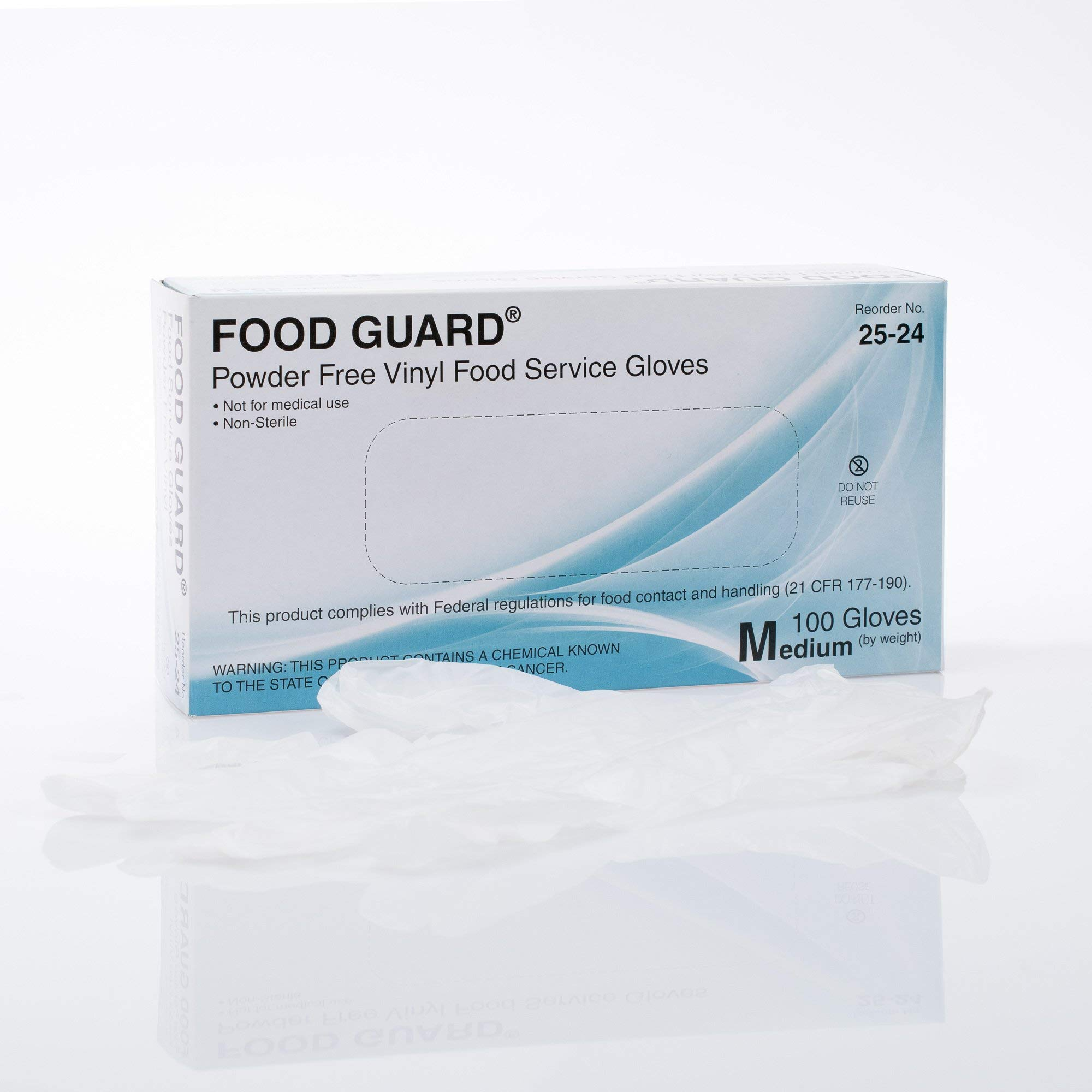 Food Guard Food Service Glove Vinyl Powder Free Medium 25-24 20 Boxes, 100 /Box