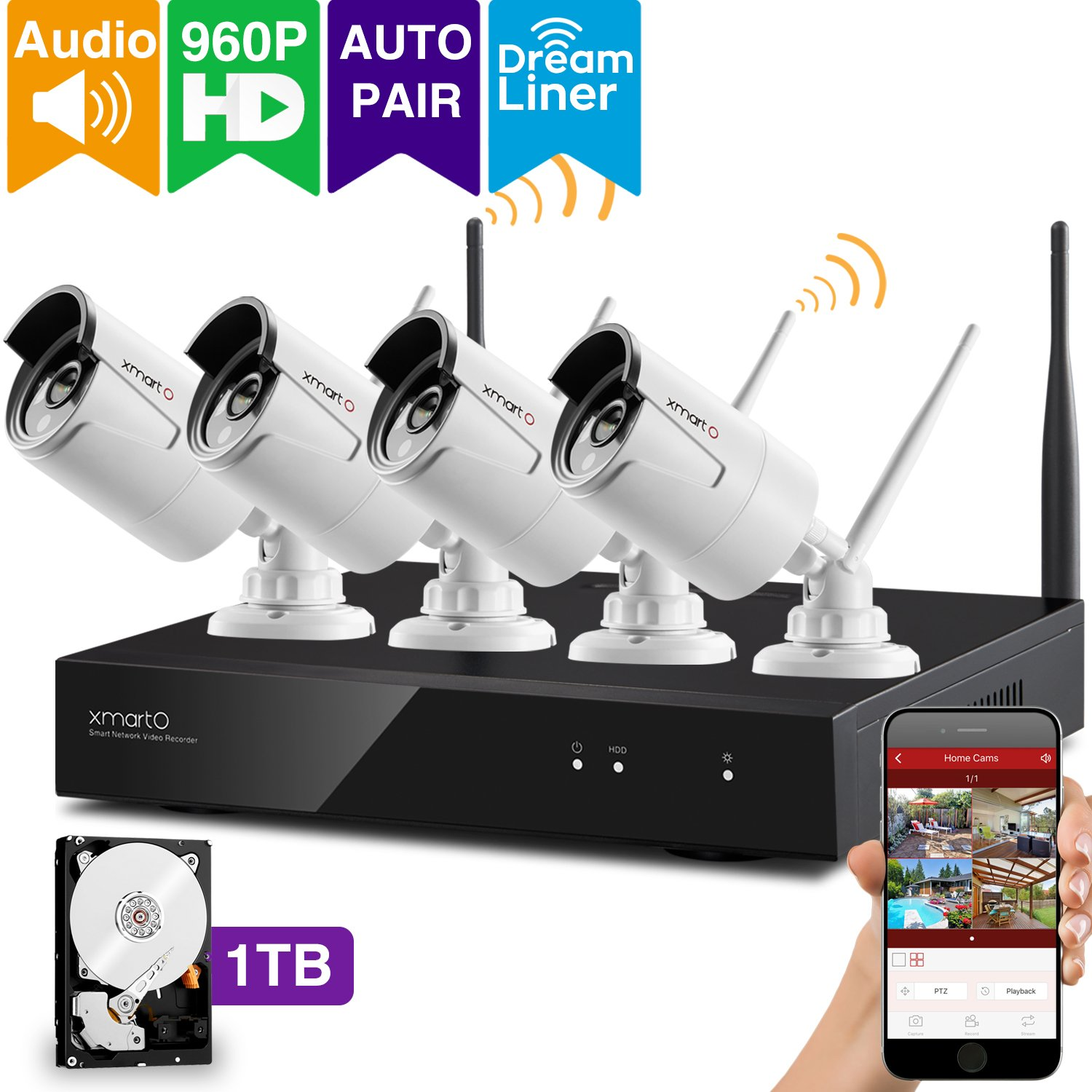 [Audio Compatible] xmartO Wireless Security Camera System 4CH 1080p HD NVR with 4pcs 960p