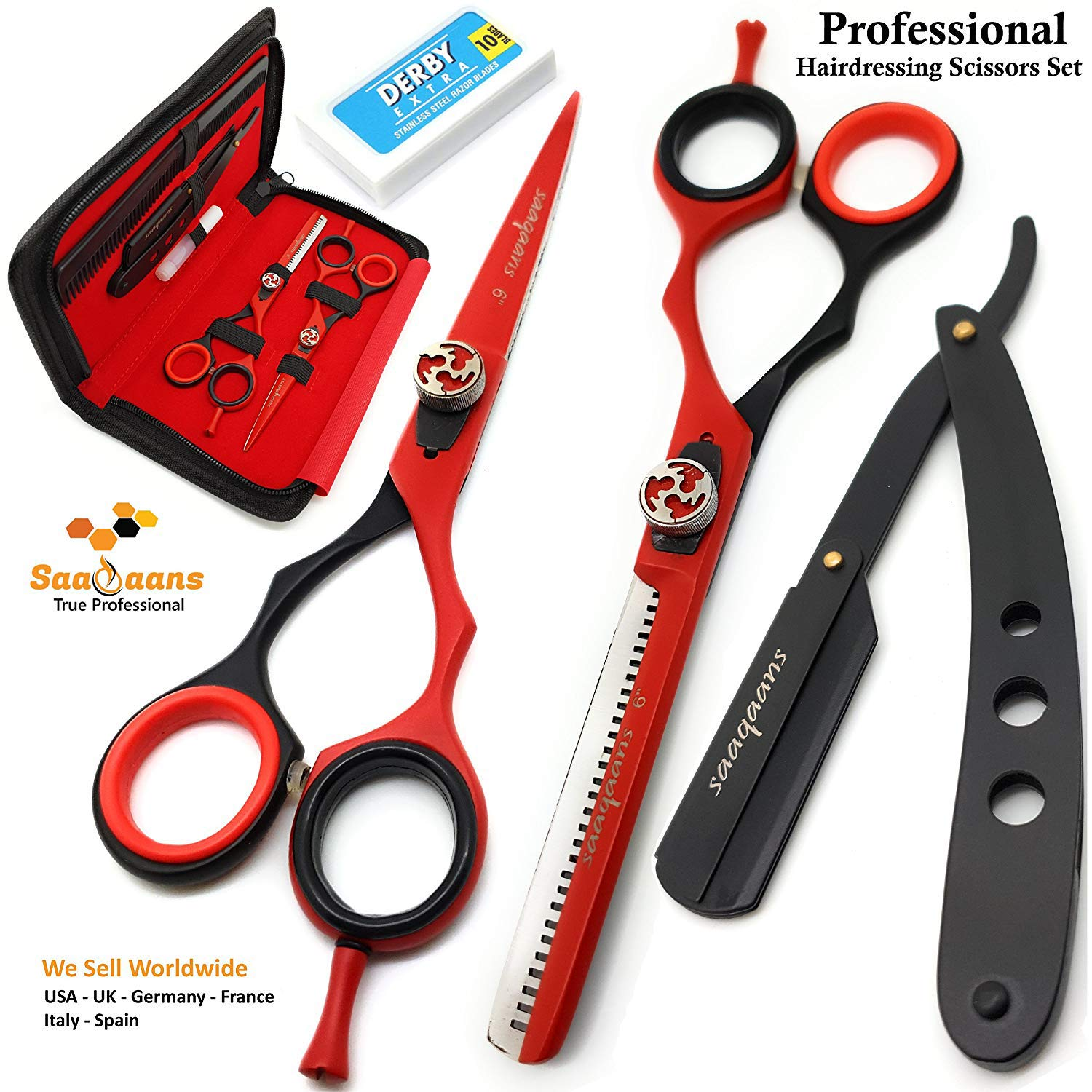 Saaqaans QSS-04 Professional Haircut Scissors Set - Package include Barber Scissor, Thinning Shear, Straight Razor, 10 x Derby Double Edge Blades & Hair Comb in Stylish Scissor Case (Red & Black USA) by Saaqaans
