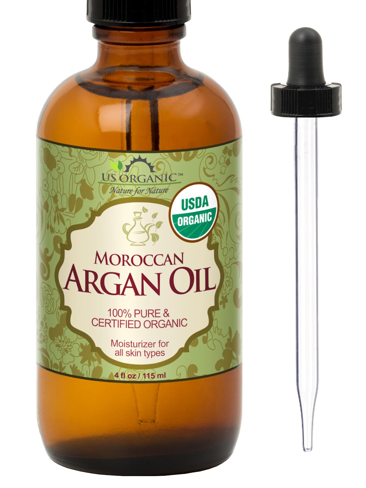 US Organic Moroccan Argan Oil, USDA Certified Organic,100% Pure & Natural, Cold Pressed Virgin, Unrefined, 4 Oz in Amber Glass Bottle with Glass Eye Dropper for Easy Application. Origin_Morocco by US Organic
