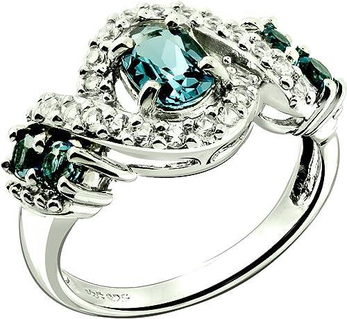 Sólido anillo de plata esterlina 925 con cristales Swarovski Aqua Azul Auténtico