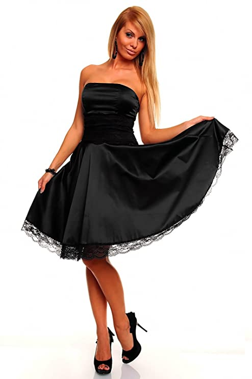 a6f9c616565c Knielanges Bandeau Kleid Satinkleid Ballkleid Abendkleid Cocktailkleid  Festkleid Schwarz XL (40)  Amazon.de  Bekleidung