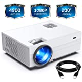 "FunLites Projector,+80% Brightness HD 4900lumens Video Projector with 200"" Display 60,000 Hrs Led Home Theater Projector, 1080P Supported Compatible with Fire TV Stick,PS4, HDMI, VGA, AV and USB"