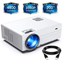 "FunLites Projector,+80% Brightness HD 4900LUX Video Projector with 200"" Display 60,000 Hrs Led Home Theater Projector, 1080P Supported Compatible with Fire TV Stick,PS4, HDMI, VGA, AV and USB"