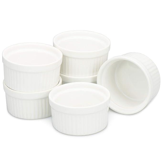 COM-FOUR® 6 Cuencos Ragout Fin en blanco, horno para hornear como moldes de soufflé, moldes para pasteles, por ejemplo, flan (06 piezas): Amazon.es: Hogar