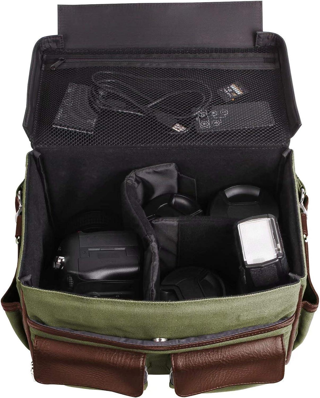 Olympus PENTAX Grey, Black Leather and Canvas Camera Crossbody Bag Case for Canon FUJIFILM