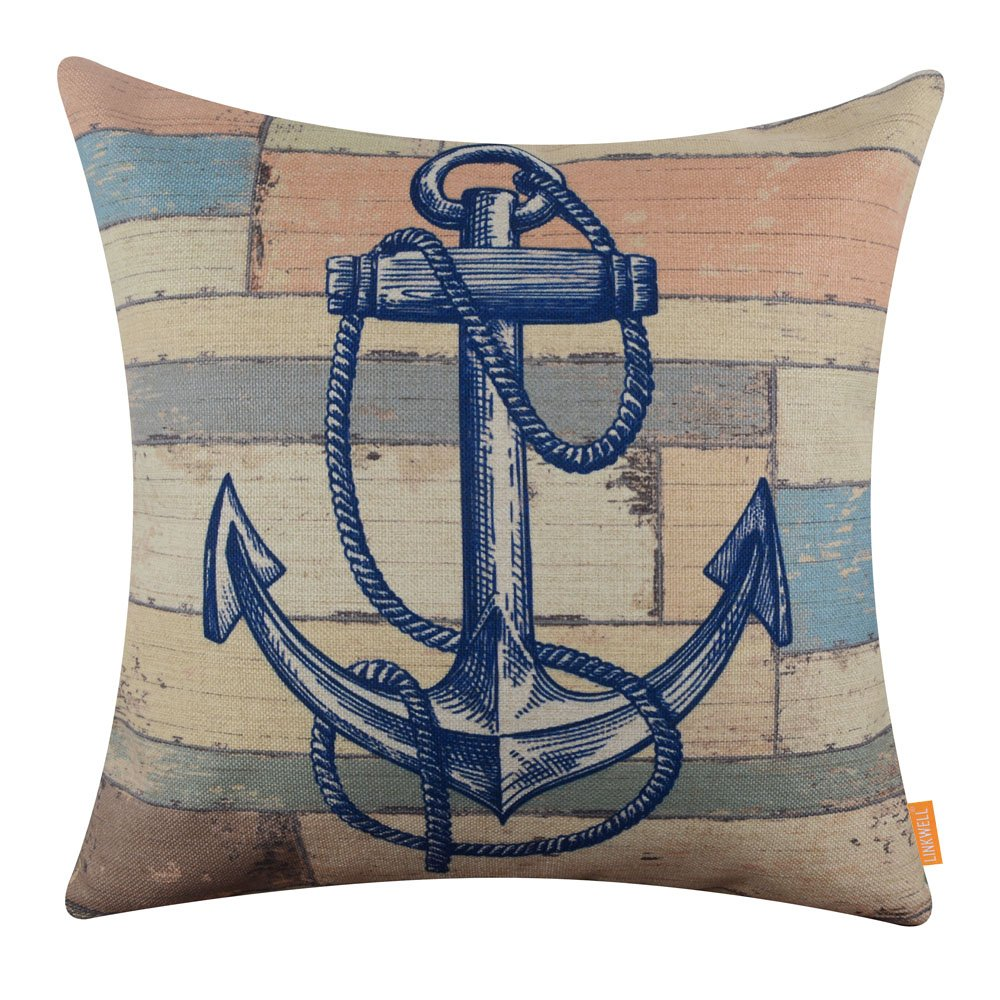 LINKWELL 18x18 inches Wood Slat Sea Blue Anchor Burlap Throw Accent Pillow Cover Cushion Cover (CC1364) by LINKWELL (Image #1)