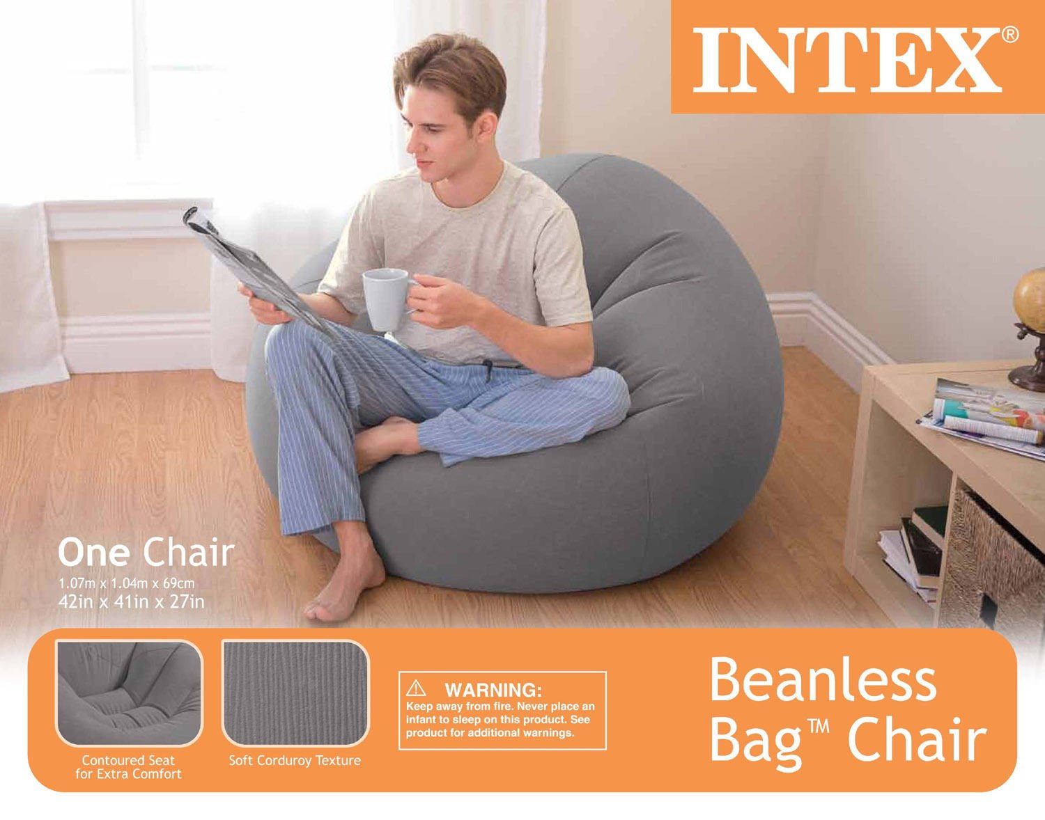 intex inflatable lounge chair. Amazon.com: Intex Inflatable Contoured Corduroy Beanless Bag Lounge Chair, Grey | 68579EP: Kitchen \u0026 Dining Chair