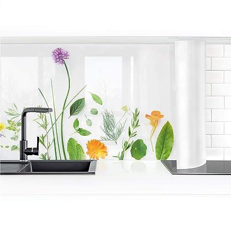 Bilderwelten Küchenrückwand Folie selbstklebend Kräuter und Blüten 70 x 150 cm Smart