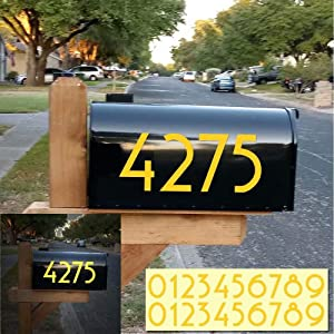 """Diggoo Reflective Yellow Mailbox Numbers Sticker Decal Die Cut Uzbek Style Vinyl Number 4"""" Self Adhesive 2 Sets for Mailbox, Signs, Window, Door, Cars, Trucks, Home, Business, Address Number"""