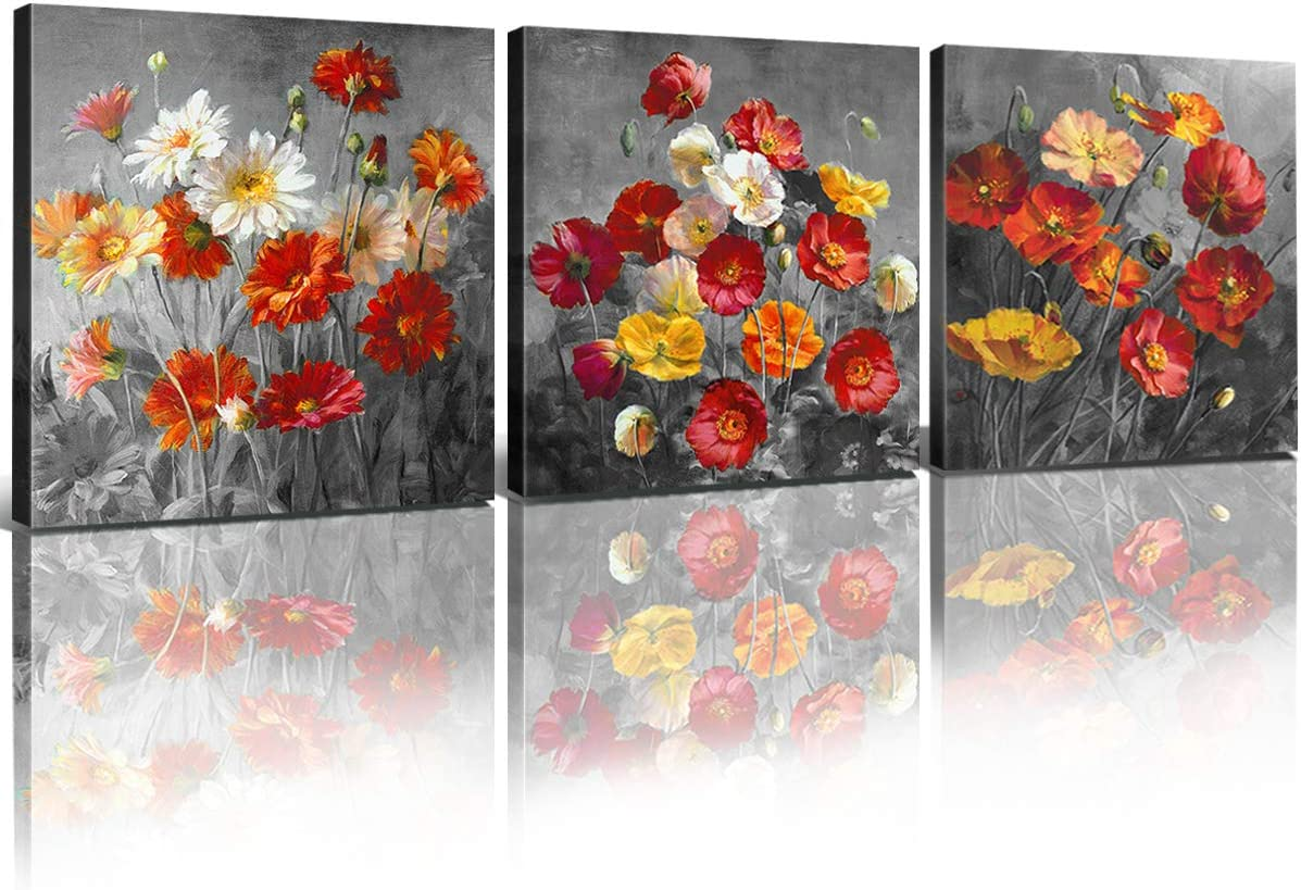 Flowers Wall Art Bathroom Living Room Decor Black and White Red Poppy Canvas Prints Plant Floral Daisy Painting Pictures Modern Framed Artwork for Bedroom Kitchen Home Decoration 12x12 Inch 3 Pcs