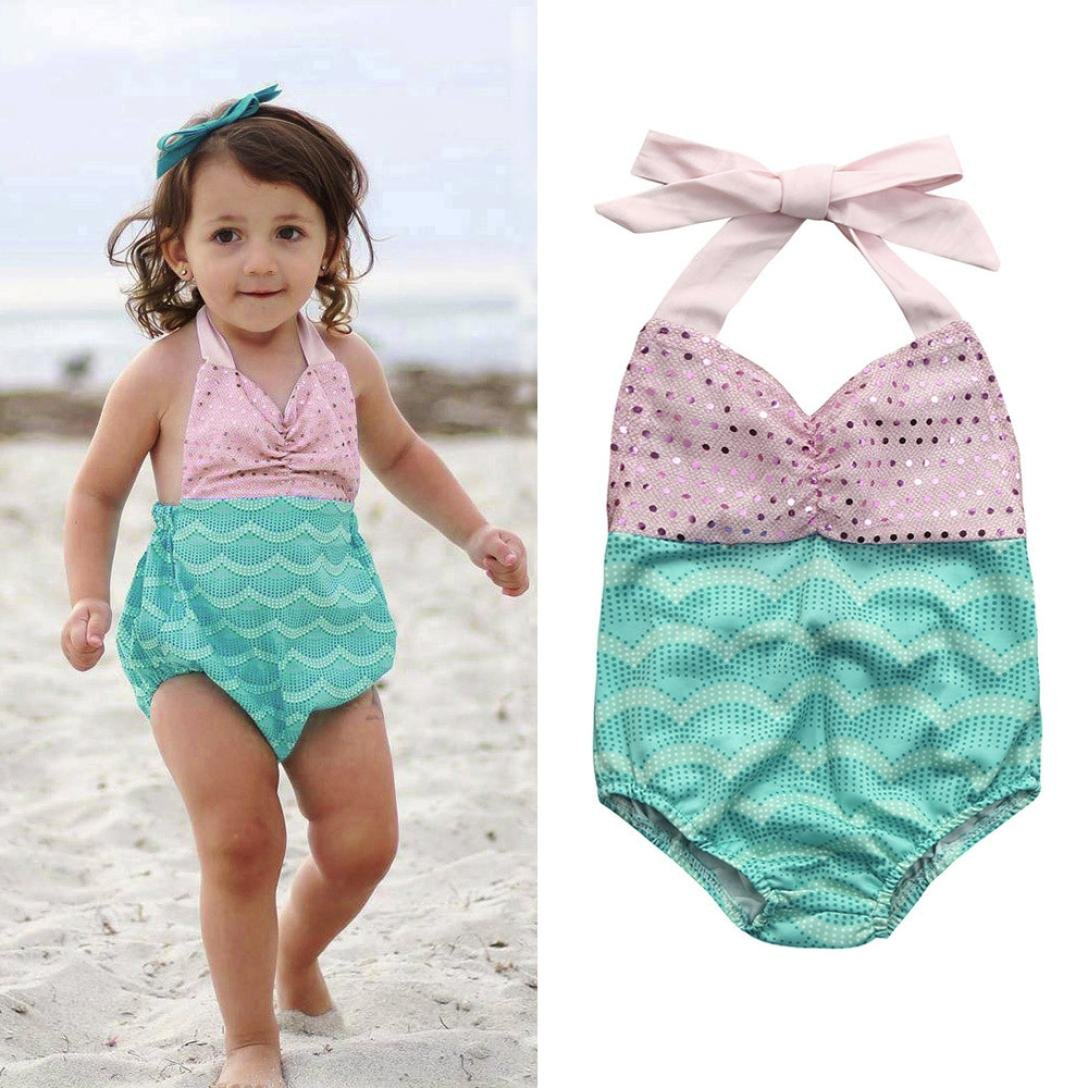 Toraway One Piece Swimsuit Halter Sequins Baby Girls Summer Beach Bathing Suit Bikini Set Swimsuit