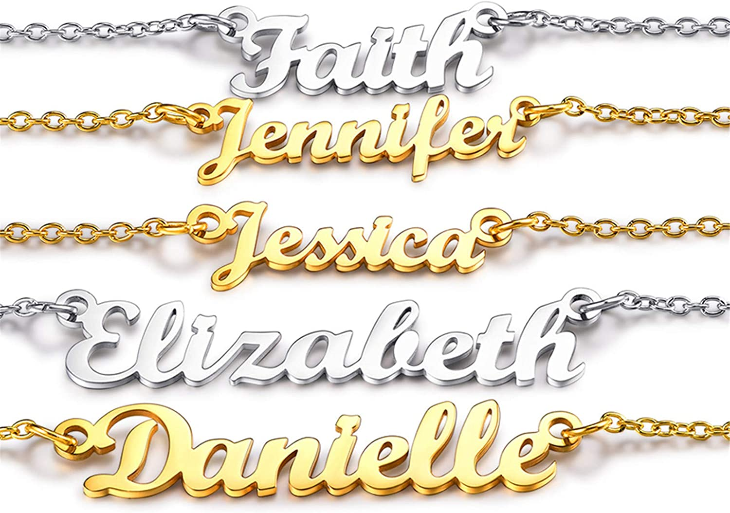 3 Name Necklace Women/'s Personalized Necklace 18K Gold Plated Any Name Necklace Vintage Style Necklace Gothic Necklace Old English Necklace
