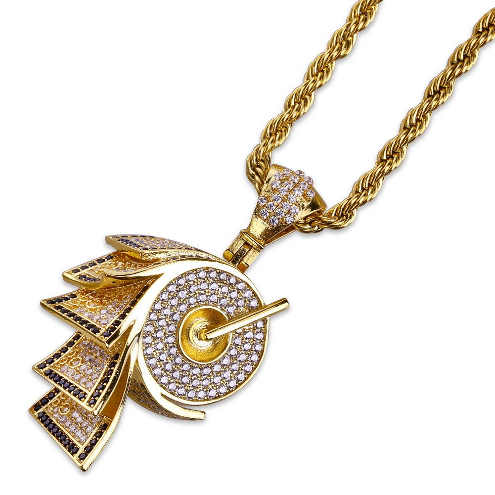 JINAO 18k Gold Plated ICED Out Toilet Roll Dollar Sign Pendant Necklace