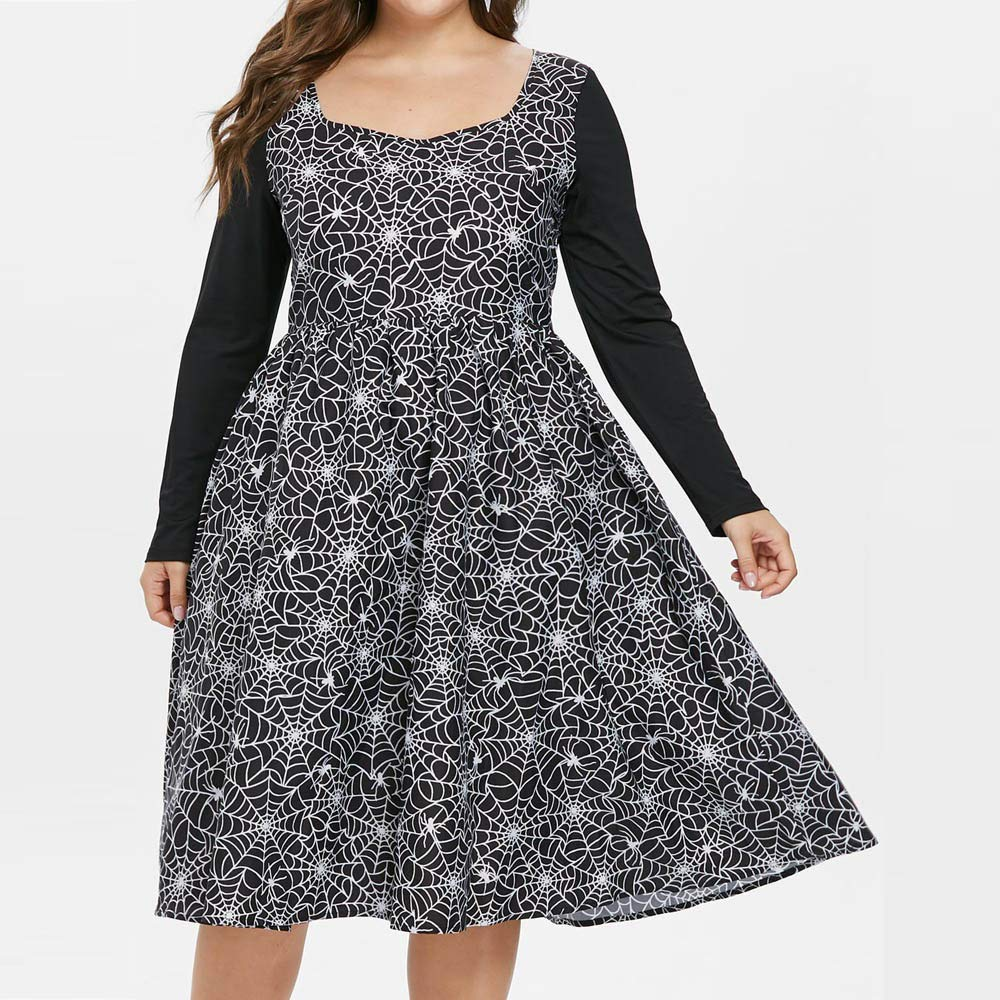 Sunmoot Halloween Cobweb Print Dress Women Plus Size Vintage ...