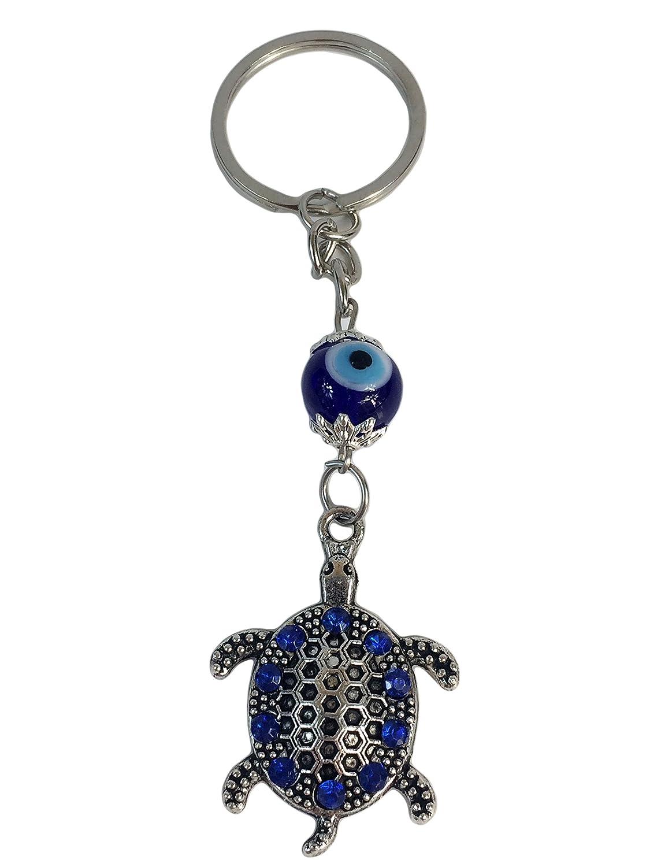Llavero con diseño de tortuga con ojo turco y diamantes de ...