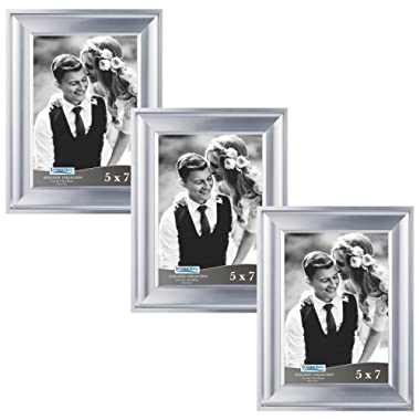 Icona Bay 5x7 Picture Frame (3 Pack, Silver), Silver Photo Frame 5 x 7, Wall Mount or Table Top, Set of 3 Elegante Collection