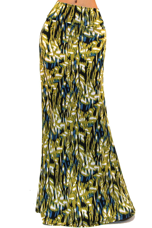 Vivicastle Women's USA Colorful Tie Dye Acid Washed High Waist Foldover Maxi Skirt