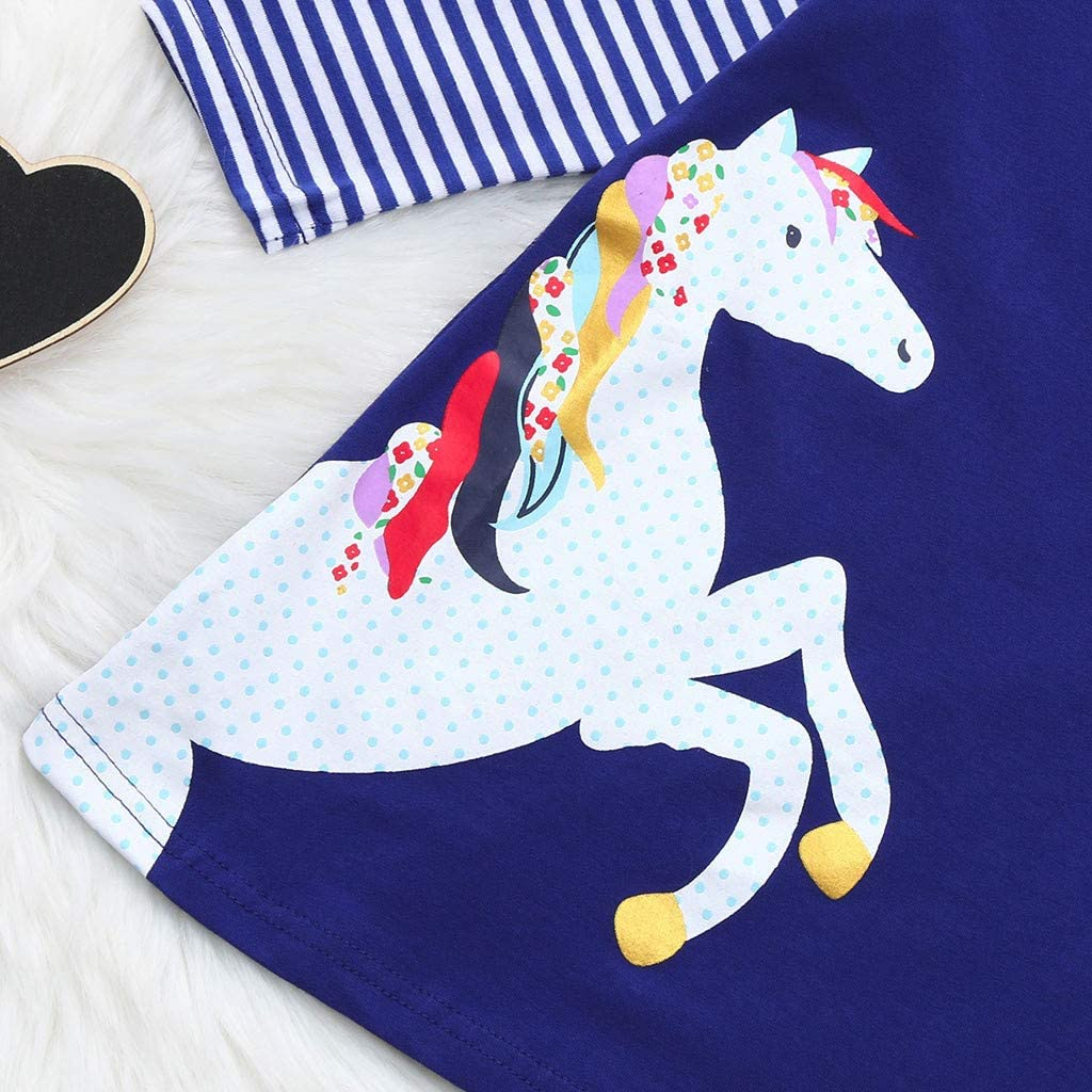 Toddler Baby Girls Kids Party Princess Dresses Cuekondy Fashion Horse Stripe Print Long Sleeve Skirt for 1-8 Years Old 8T, Navy