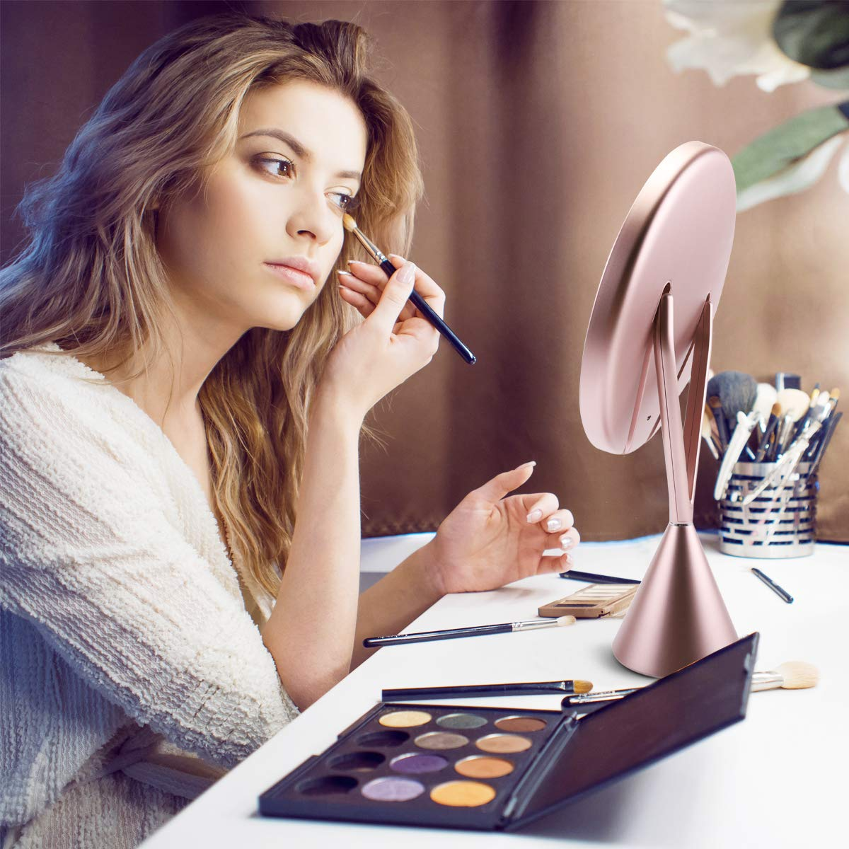 Lighted Makeup Mirror, Vanity 1X/5X Magnifying Mirror Rechargeable 8.3 Inch, 3 Color Modes Dimmable with Touch Screen (Rose Gold)