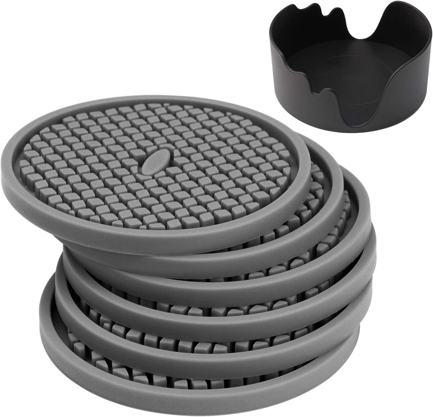 Silicone Drink Coasters Set of 6 in Holder, IPHOX 3.94 Inches Flexible Heat Resistant Coaster for Drinks with Deep Grooved and Non-Slip Bottom, Protect Furniture From Dirty and Scratched (Gray)