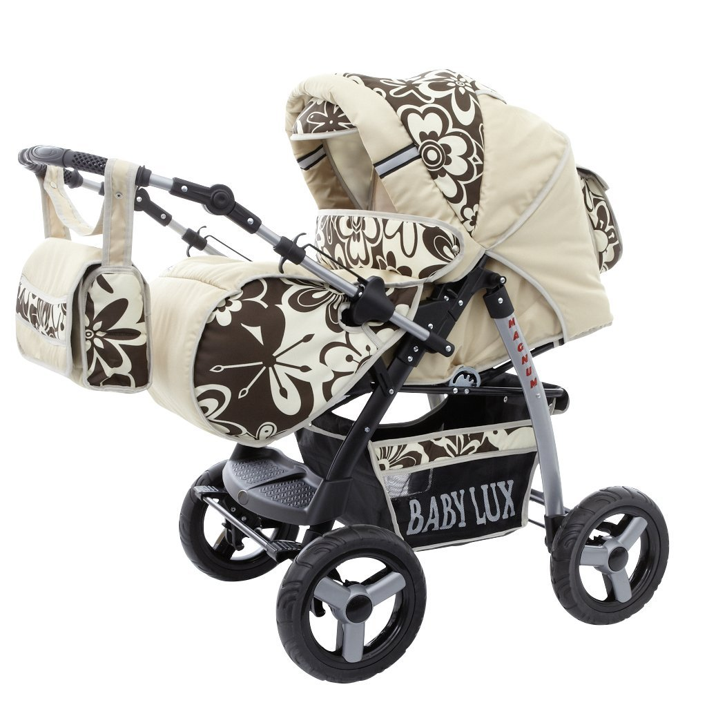 Lux4Kids Magnum 2 in 1 Pram Combi Stroller & Pushchair (rain cover, mosquito net, cup holder, changing pad, 47 colors) 30 Beige & Brown Flowers