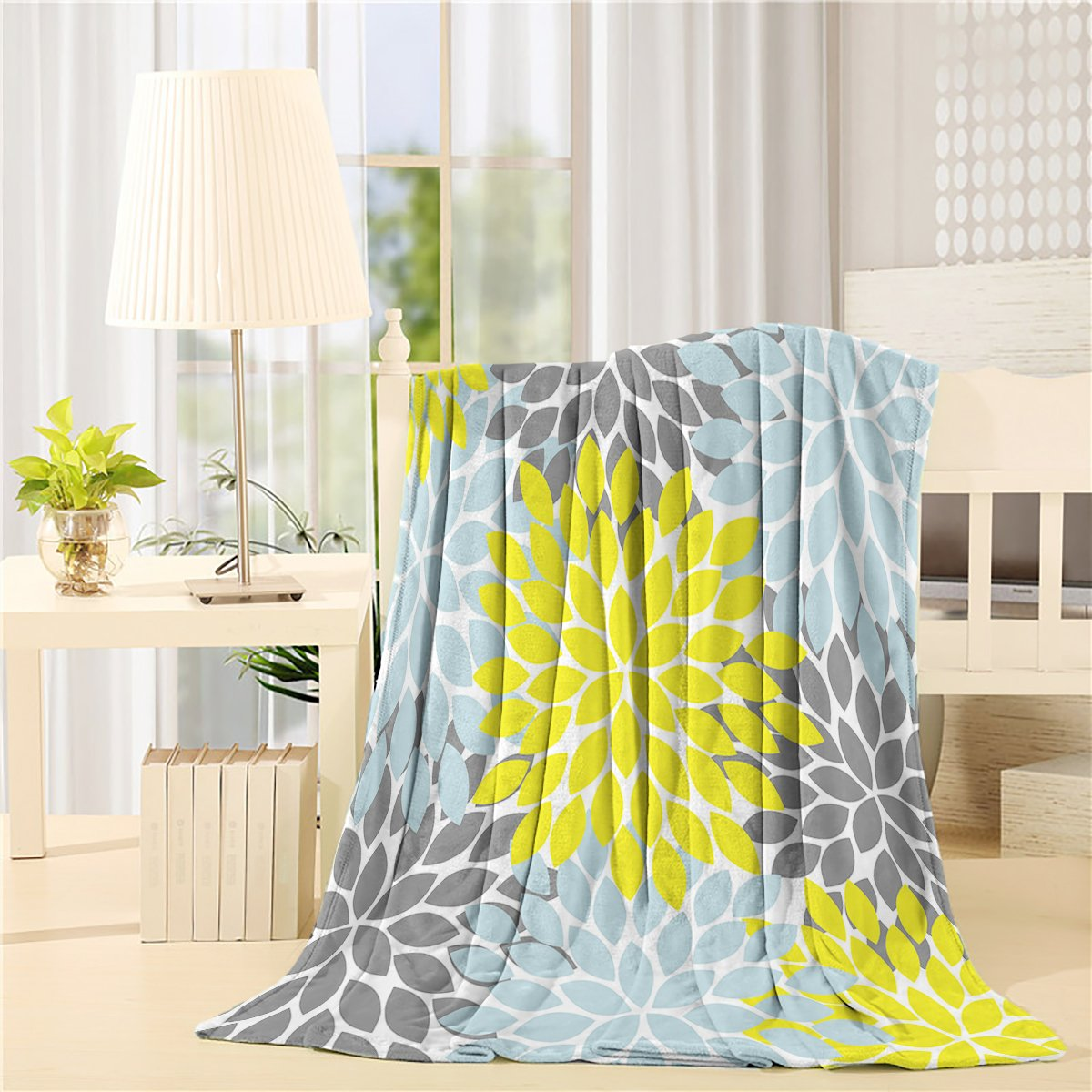 SUN-Shine Flannel Fleece Luxury Blanket Home Multicolor Dahlia Pinnata Flower Throw Lightweight Cozy Plush Microfiber Colorful Blanket 50x60Inches Yellow, Blue, Grey