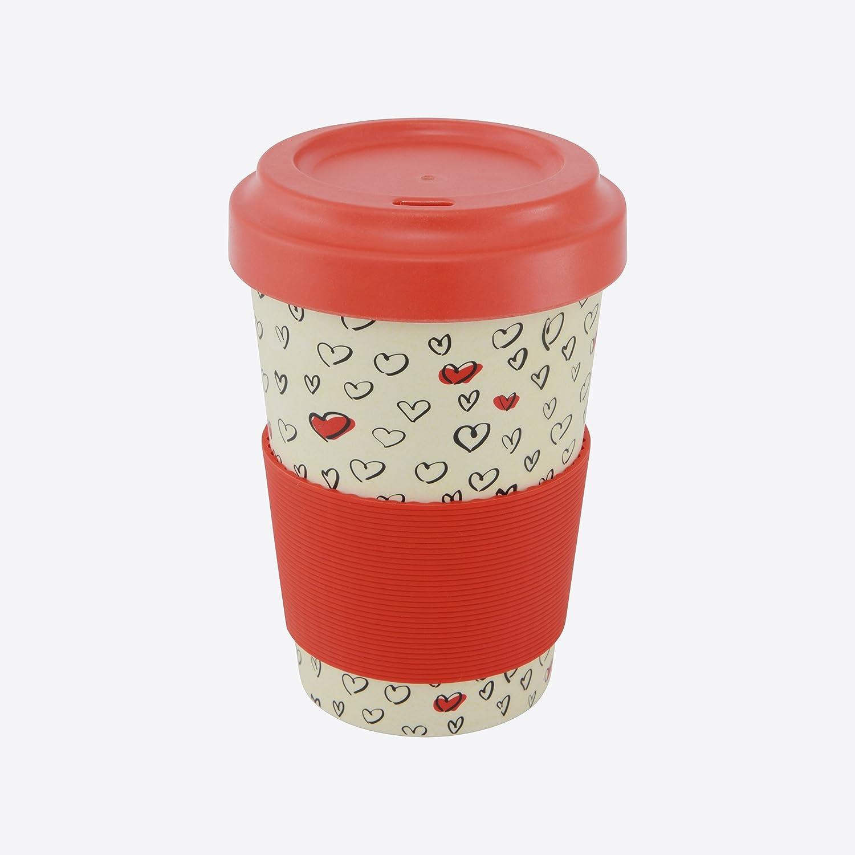 Rouge fibre Une domo Pv-bam-6281/Point-Virgule Mug de voyage avec couvercle et antid/érapant Band coeurs 500/ml Bambou