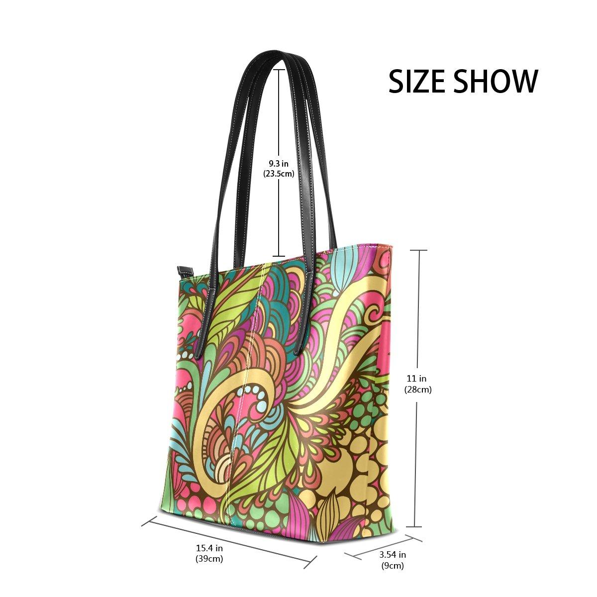 Womens Leather Top Handle Shoulder Handbag Fashion Flower Large Work Tote Bag