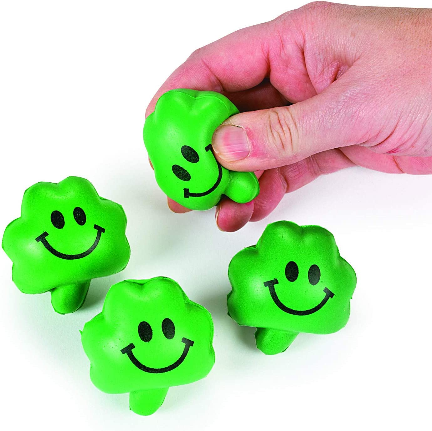 Stress Tension Anxiety Relief St Patricks Day Toys and Party Favors 4Es Novelty Mini Shamrock Party Favors and 24 Mini Shamrock Rubber Duckies 24 Shamrock Relaxable Balls