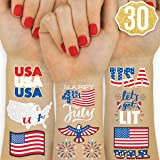 xo, Fetti Fourth of July Decorations Temporary Tattoos - 30 styles   America, Red White and Blue Party Supplies, 4th of July,