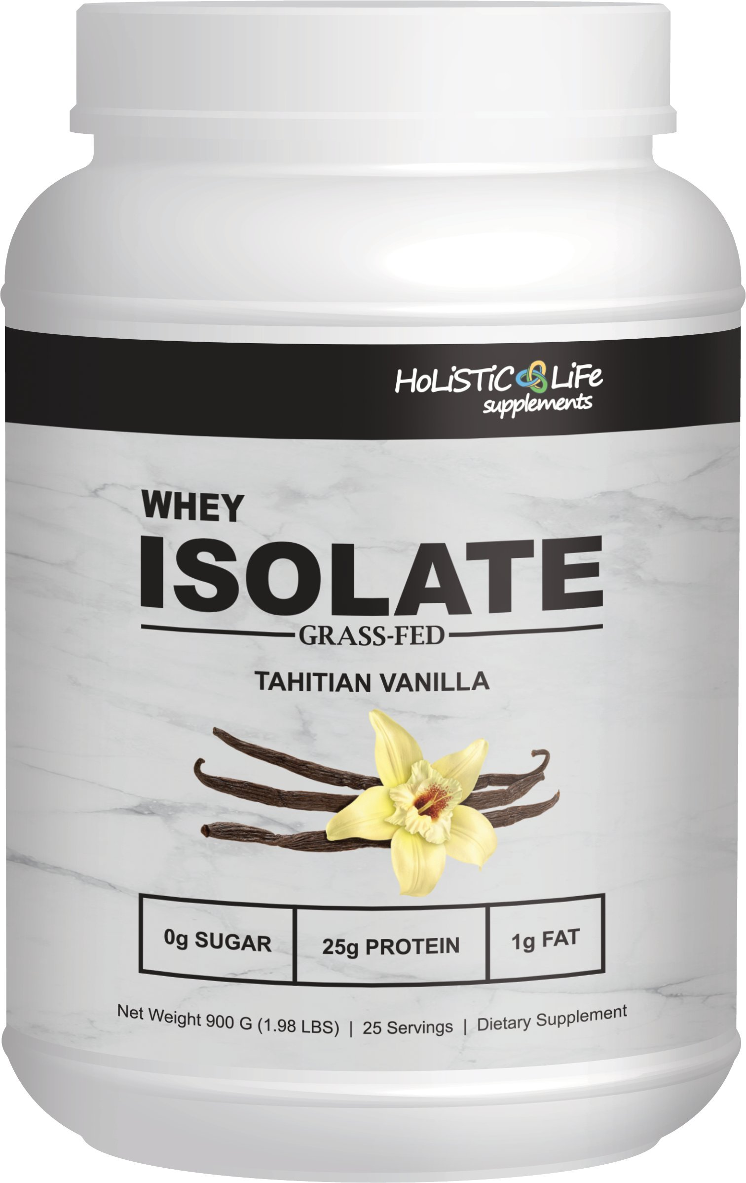 2 lbs Grass Fed Whey Protein Isolate, Tahitian Vanilla, All Natural, Low Carb, Highest Quality Ingredients