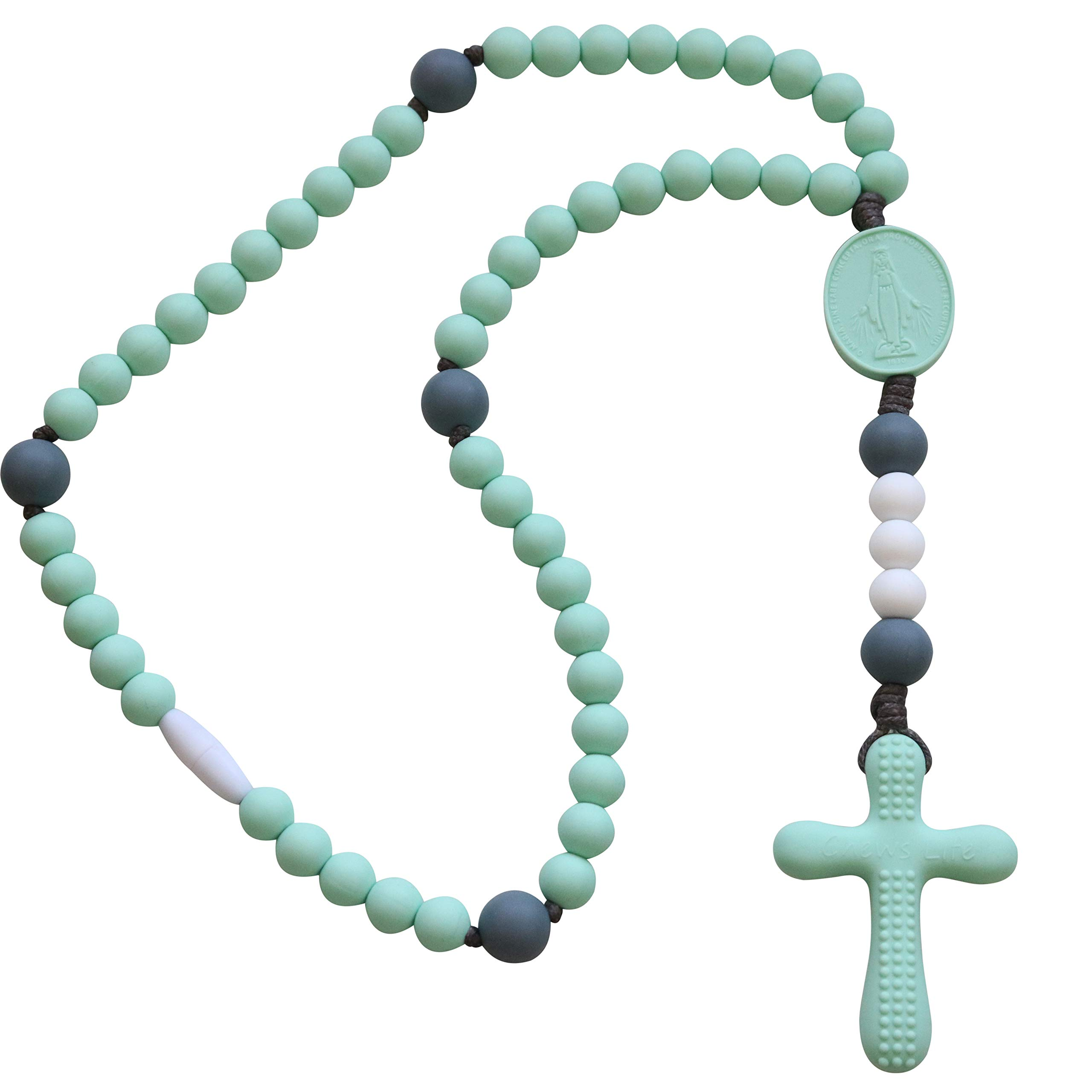 Chews Life - Teething Rosary Beads - Baptism Gift & Mass Toy for Catholic Girls & Boys, Handmade, Silicone Beads & Organic Cotton Cord - CPSIA Certified Safe - Mint & Gray