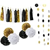 Black Gold Party Decoration Black White Glitter Gold Tissue Paper Pom Pom Paper Tassel Garland Paper Circle Garland for Graduation Party Decoration,Wedding Birthday Decoration Gold Hollywood Glamour