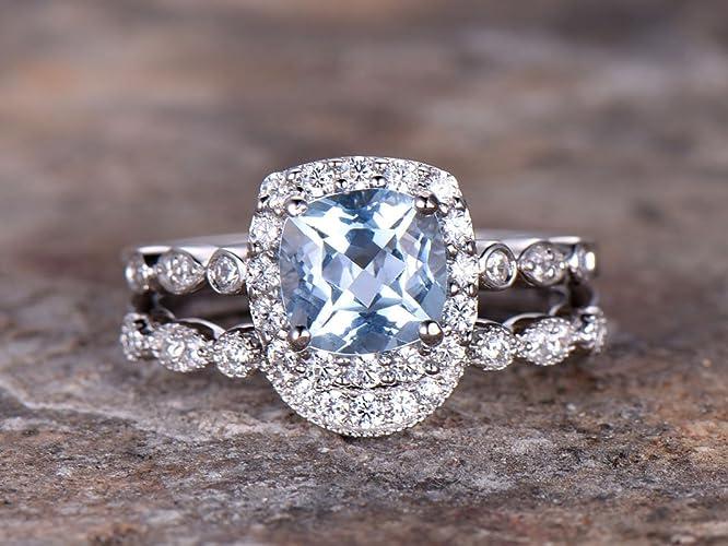 Amazon.com  2pcs blue topaz wedding ring set!6.5mm Cushion ... 3642cce351