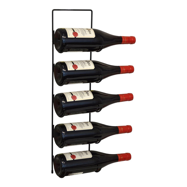 Harbour Housewares 5 Bottle Wall Mounted Black Metal Wine Rack