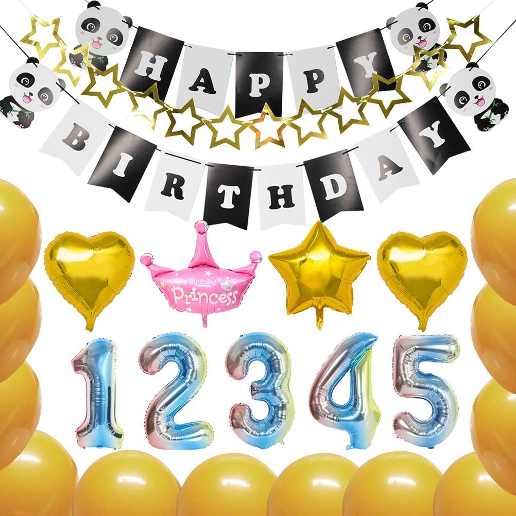QLOUNI Globos para Cumpleaños Niños - Oro Azul Degradado Decoración de Cumpleaños de Bandera para Fiestas con Número 1 2 3 4 5: Amazon.es: Juguetes y juegos