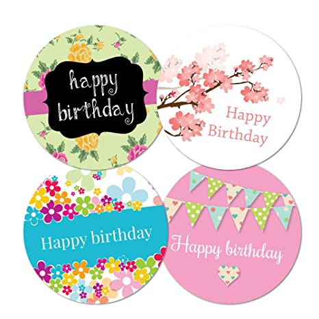 Happy birthday stickers 4 designs per pack 30mm or 60mm in diameter party bags envelopes 30mm 144 stickers amazon co uk toys games