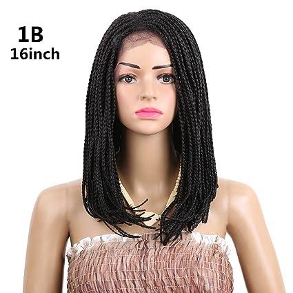Bob sintético Lace Front Peluca Pelucas De Pelo Trenzado afroamericana Ombre Rubio/negro caja extensiones