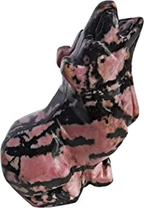 Loveliome Natural Rhodonite Wolf Crystal Figurine, Hand Carved Stone Animal Statues for Home Decor 2.5 Inches
